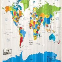 Home World Map Shower Curtain