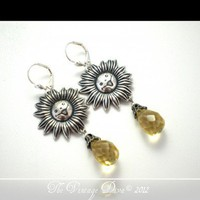 Walking On Sunshine Antiqued Silver Citrine Quartz Briolette Earrings | TheVintageDiva - Jewelry on ArtFire