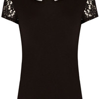 Lace Insert Collar T-Shirt