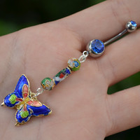 cloisonne butterly belly ring DARK BLUE cloisonne beads in beach boho gypsy hippie belly dancer  fantasy beach hipster and fantasy style