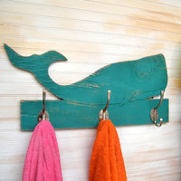Whale Towel Hook Wooden Kids Bathroom Towel Hook Whale Beach Towel Hook