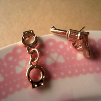 Earrings Studs Pistol and Hand Cuff by Bitsofbling on Etsy