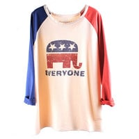 Elephant USA Flag Loose Baseball Tshirt For Women