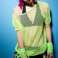 Fluorescent Color Hollow Out Lace Top