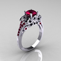 Classic 14K White Gold 1.0 CT Red Garnet Black Diamond Blazer Wedding Ring R203-14KWGBDRG
