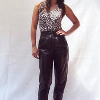80s Black Leather Pants High Waist XS Cropped Length Supple Soft Leather Rocker Moto Chic