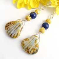 Shell Dangle Earrings, Czech Glass, Yellow and Lapis Blue Beads | PrettyGonzo - Jewelry on ArtFire