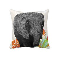 Cute Hippie Elephant Pillows by Clareville Designs