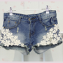 [grhmf2600016]Denim Shorts-Flower Lace