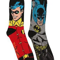 DC Comics Batman And Robin Men's Crew Socks 2 Pack - 10003569