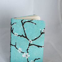 Blue Peach Blossom lined journal by luciagphoto on Etsy