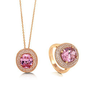 Oval Cut Pink Cubic Zirconia CZ Rose Gold Over Sterling Silver Halo Pendant Necklace And Cocktail Ring Matching 2 Pc Set #vs230