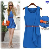 Temperament Irregular Hem Dress With Belt