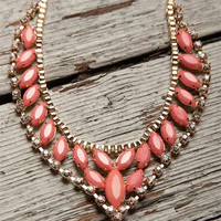 Pointed Bottom Enamel Necklace Set - Coral from Jewelry & Accessories at Lucky 21 Lucky 21