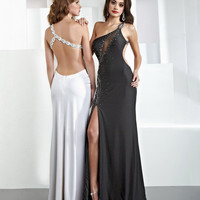 Long A-line One-shoulder White Dress With Beads