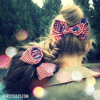Monogrammed &#x27;Merica Hair Bow