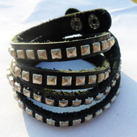 Rock Punk Style black Leather and Metal Rivet by braceletcool