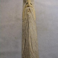 wood spirit one face white wash