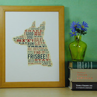 Typographic Dog Letterpress Print by fhpress on Etsy