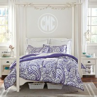 Garden Paisley Super Pouf Comforter + Sham, Pool