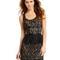 *New* Urban Hearts Sleeveless Black Lace Peplum Dress - Size Medium 