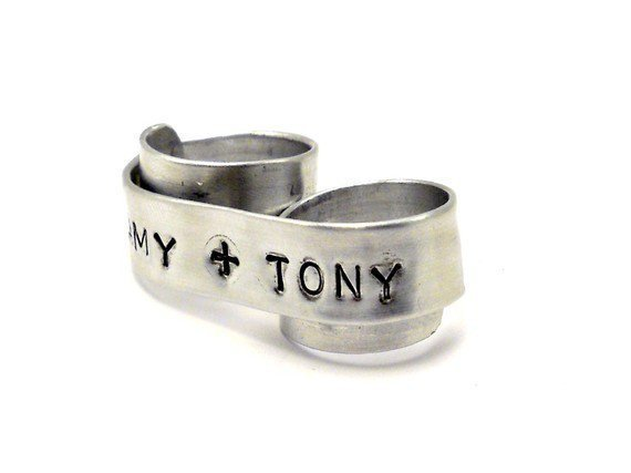 Personalized Wedding Band Two Finger Ring You & Me by MerCurios