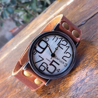 Retro style watch,men wrist watch,women wrist watch, leather wrist watch, Handmade Watch PB078