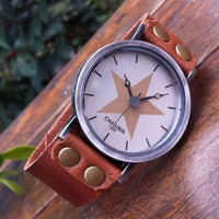 Retro style star wrist watch,men wrist watch,women wrist watch, leather wrist watch, Handmade Watch PB0179