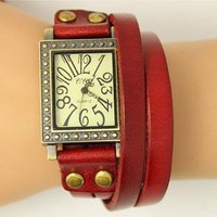 [5606-Red Wine] Double Layer Leather Band Design Square Quartz Watch