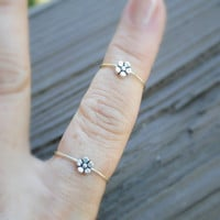 RING SET Adjustable Wire Ring Spinning Tiny Flower Finger Ring Matching Toe Ring