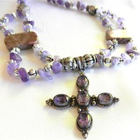 Silver and Amethyst Cross Pendant on Multi Strand Beaded Necklace
