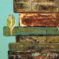 Contemporary Art Print Little Bird nestled by ContemporaryEarthArt