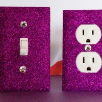 SET of SPARKLE PURPLE GLITTER Switch Plate / Outlet Covers ANY STYLES