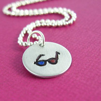 Doctor Who 3-D Glasses Necklace - Hand Stamped Doctor Who Necklace