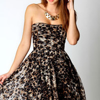 Lucie Leopard Lace Bandeau Skater Dress