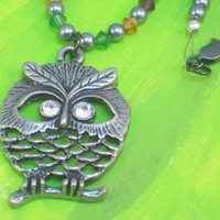 Fall Crystal Beaded Owl Necklace