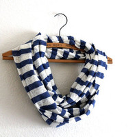 Nautical Scarf - Striped Circle Scarves - Sailor Blue and White stripe scarf