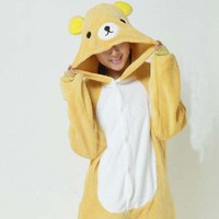 Triline Kigurumi Pajamas Anime Cosplay Pyjamas Costume Rilakkuma (Kuma) Onesuit Party Dress / M