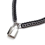 Men&#x27;s Slave Collar Black and Silver Front Closing Choker with Padlock