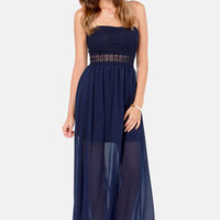 Many a Muse Strapless Navy Blue Maxi Dress