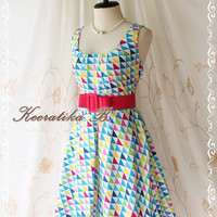 Sound Of Summer - Sweet Elegant Spring Summer Sundress Geometric Print Sleeveless Style Party Beach Tropical Season Dress
