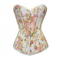 A3504 - White Denim Corset with Orange and Pink Floral Design