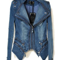 Punk Studded Denim Jacket With Removable Hem - OASAP.com