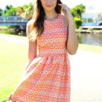 Orange Print Fit & Flare Dress with High Neckline