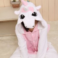 Triline New Adult Kigurumi Animal Sleepsuit Pajamas Costume Cosplay Unicorn Onesuit Pink Size S