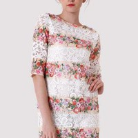 White Lace Mini Shift Dress with Floral Detail & 3/4 Sleeves
