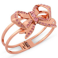 Betsey Johnson Bracelet, Rose Gold-Tone Pink Crystal Bow Hinge Bangle - Juniors Prom Shop - Macy&#x27;s