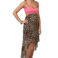cheetah print high low dress with peekaboo bodice - 1000047994 - debshops.com