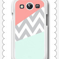 Mint & Coral Chevron Block - Samsung Galaxy S3 Case Samsung Galaxy SIII Case ,