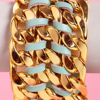 Queen of Chain Gold and Mint Green Bracelet
